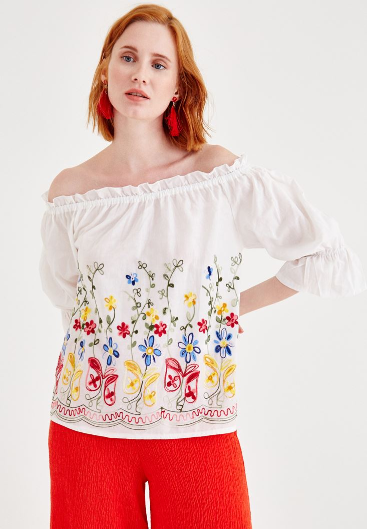 Cream Off Shoulder Blouse with Embroidery Detailed