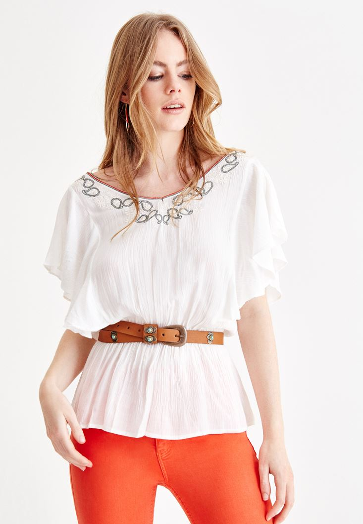 Cream Emroidered Blouse with Sleeve Details