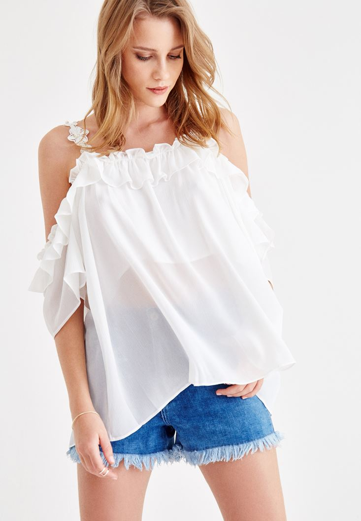 Cream Emroidered and Pearl Strappy Blouse