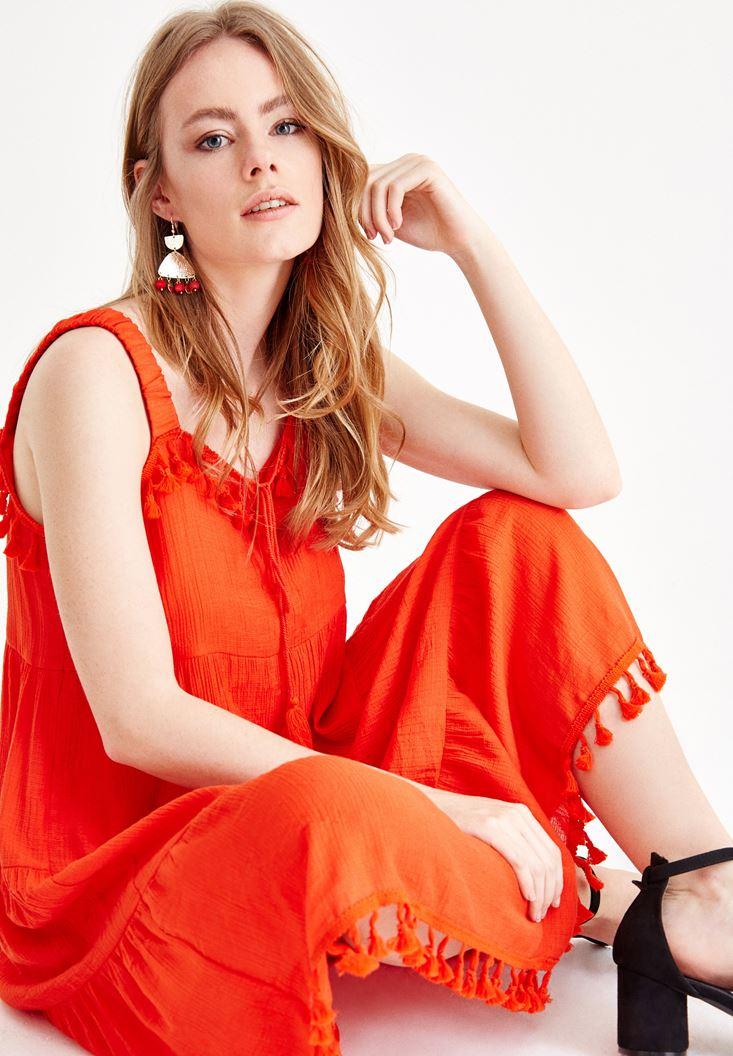 Kırmızı Püskül Detaylı Elbise