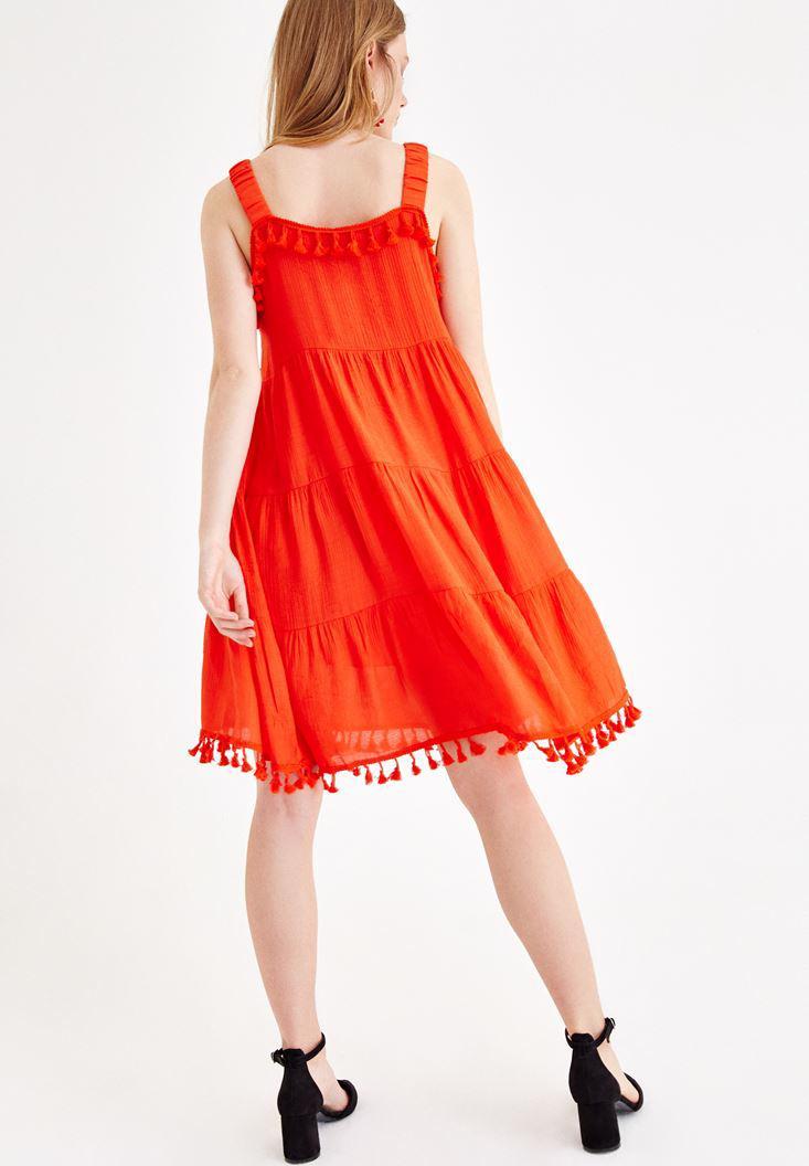 Bayan Kırmızı Püskül Detaylı Elbise