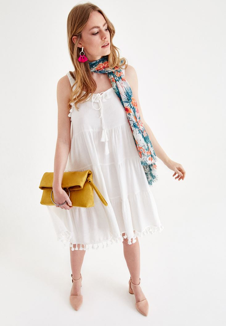 Cream Dress with Tassel