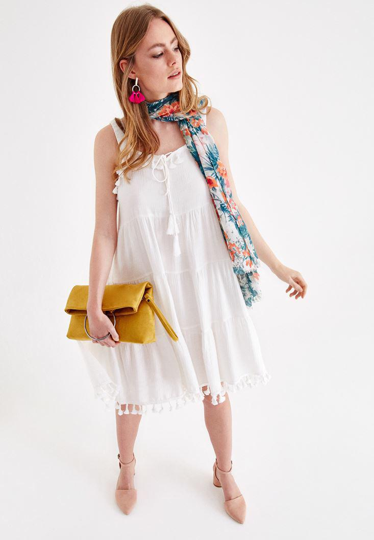 1efb5dd3bfe5 Cream Dress with Tassel Online Shopping | OXXOSHOP