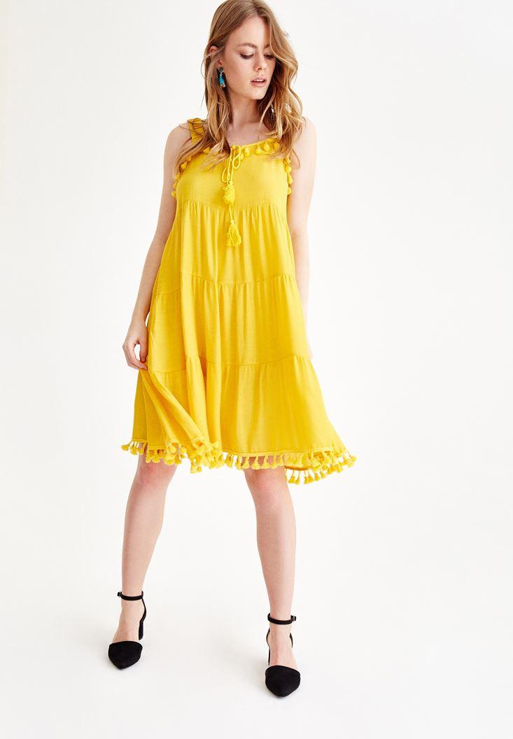 Sarı Püskül Detaylı Elbise