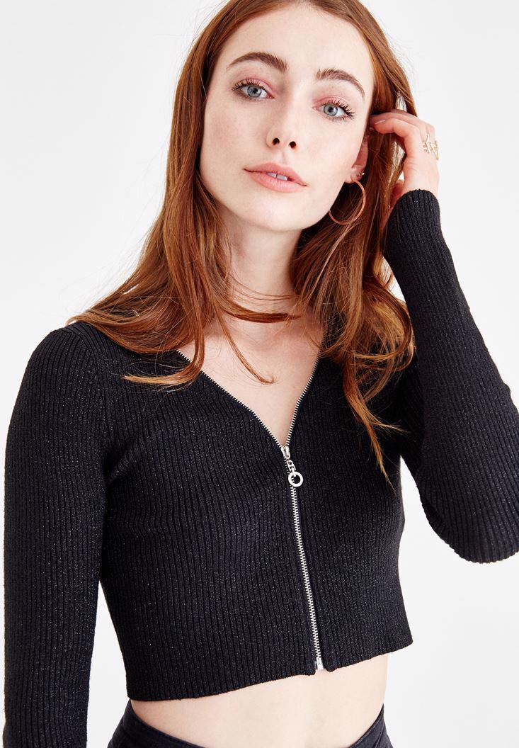 Bayan Siyah Fermuar Detaylı Uzun Kollu Bluz