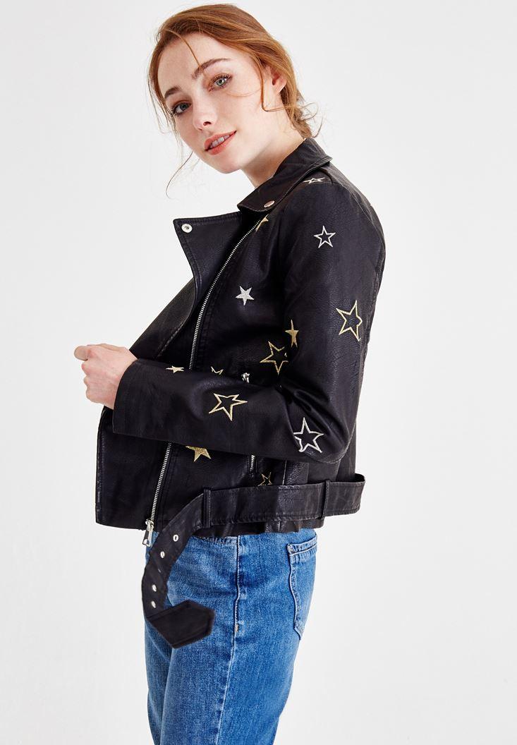 Black Leather Biker Jacket with Details