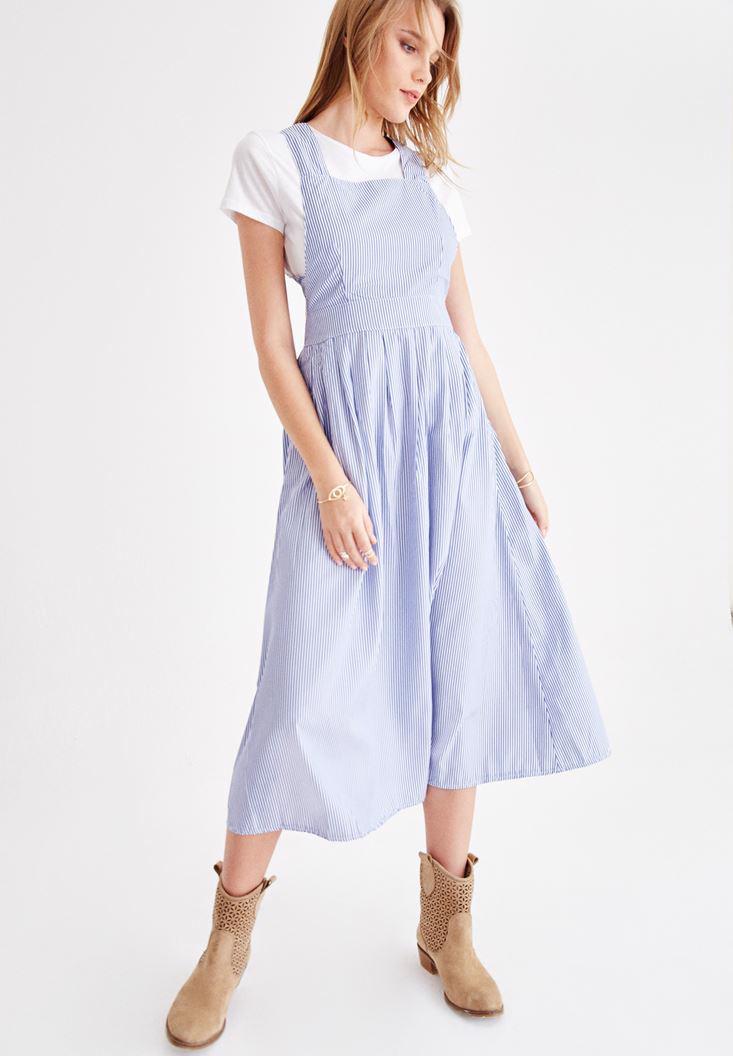 Bayan Çok Renkli Çizgili Sırt Detaylı Elbise