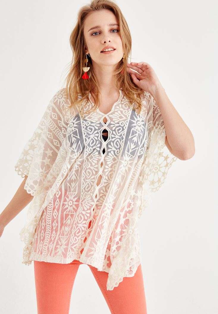 Cream Blouse with Lace and Neck