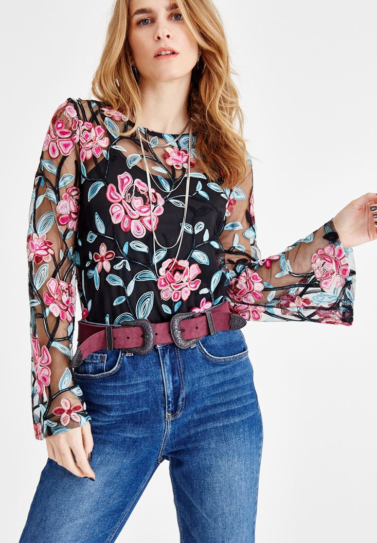 Black Embroidered Tulle Blouse