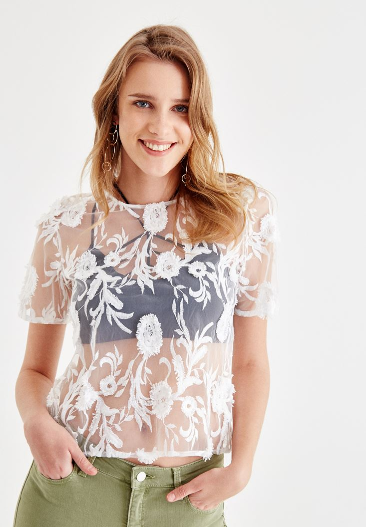 Cream Tule Blouse with LaceDetailed