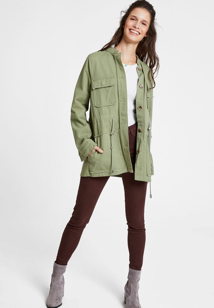 Green Pocket Detailed Cotton Jacket