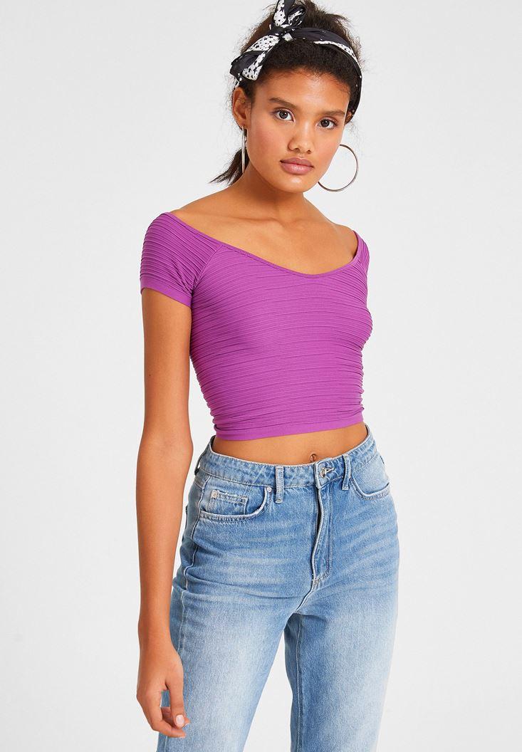 Purple V Neck Crop Top