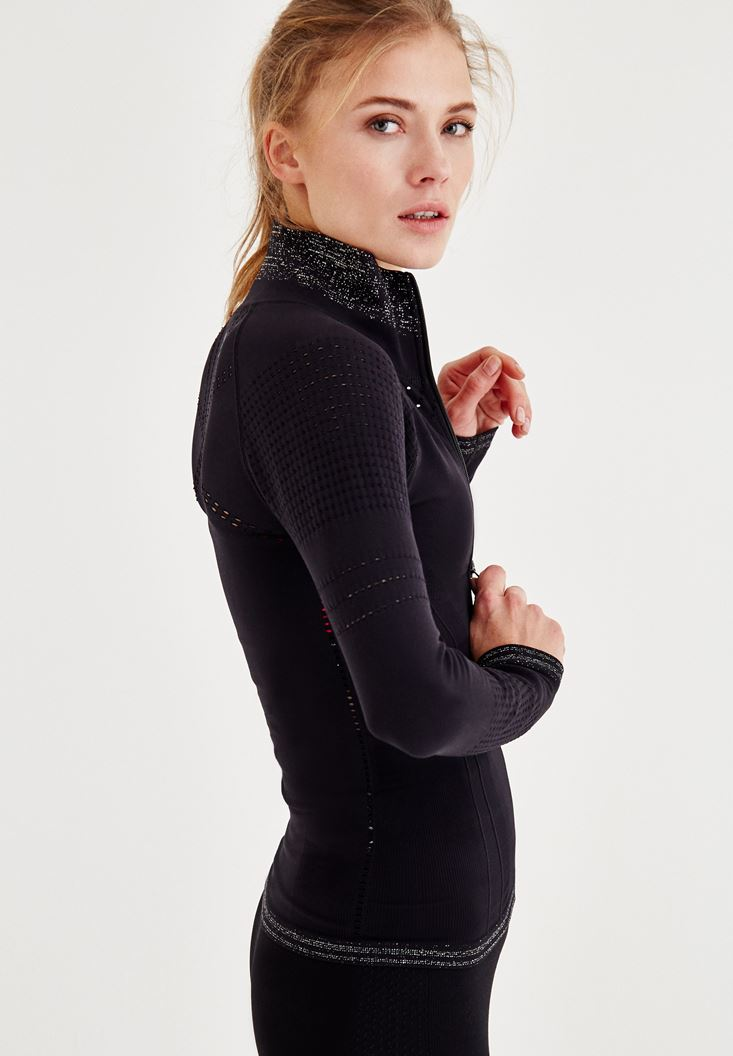 Bayan Siyah Dikişsiz Spor Ceket