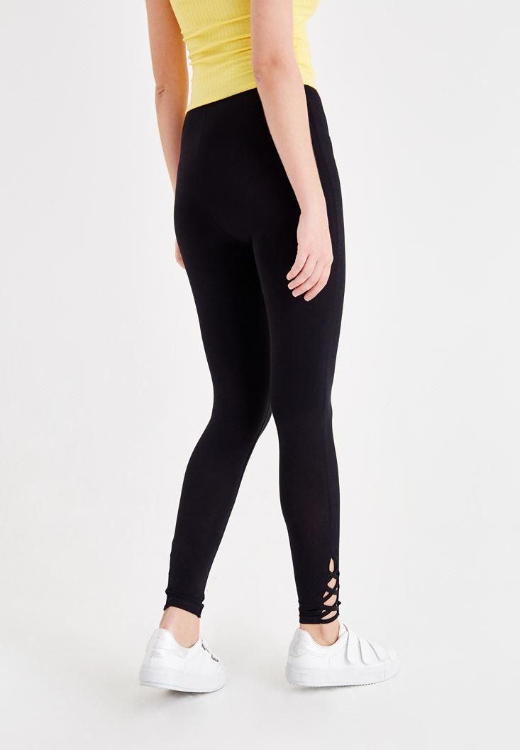 Women Black Jegging with Lace Up Details