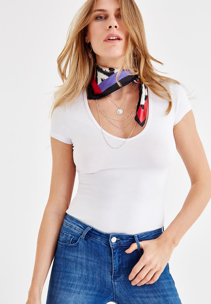 White V Neck Cotton T-shirt with Short Sleeve