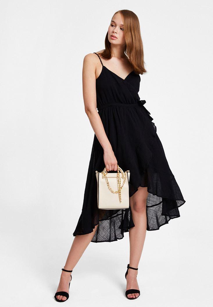 Siyah Bağlama Detaylı Kruvaze Elbise