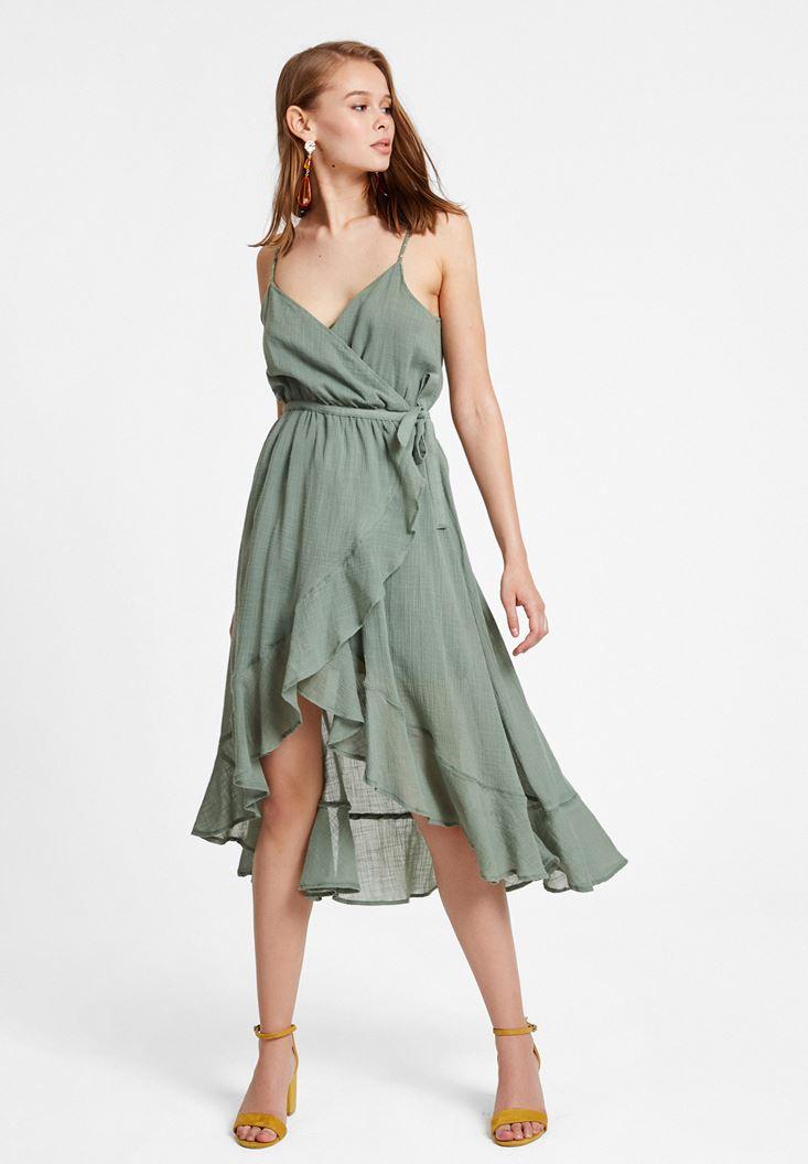 Yeşil Bağlama Detaylı Kruvaze Elbise