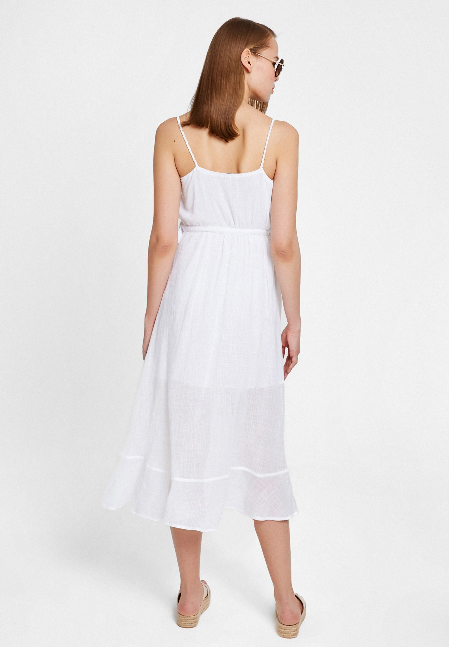 Bayan Beyaz Bağlama Detaylı Kruvaze Elbise