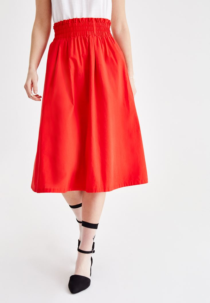Red Cotton Skirt with Belt Details