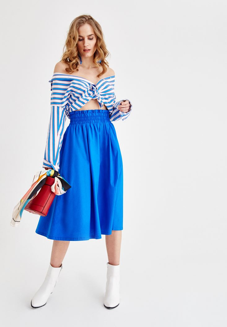 Blue Cotton Skirt with Belt Details