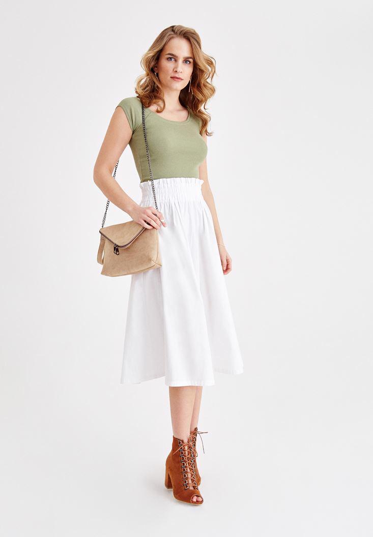 Women White Cotton Skirt with Belt Details
