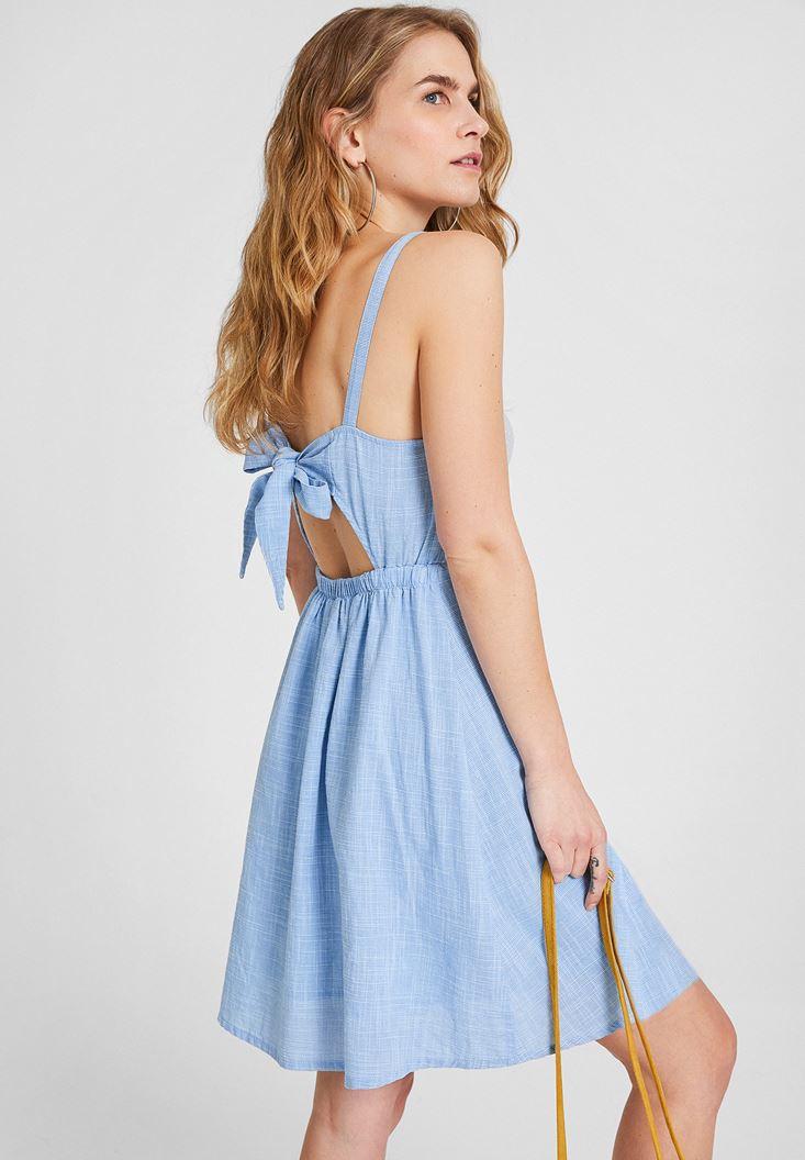 Mavi Sırtı Bağlama Detaylı Elbise