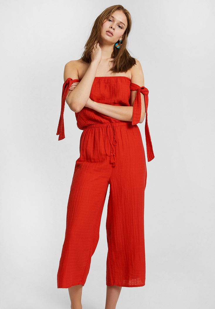 Red Off Shoulder Jumpsuit with Binding Details