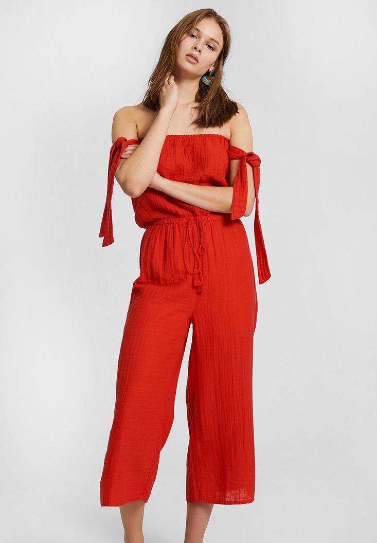 Women Red Off Shoulder Jumpsuit with Binding Details