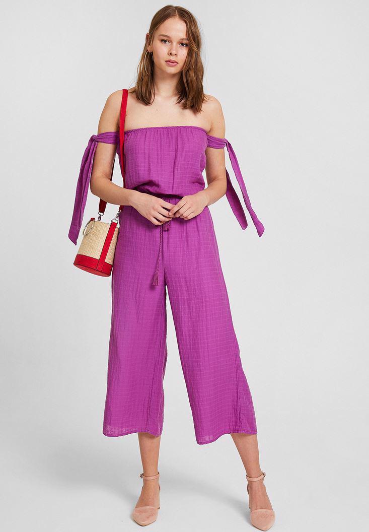 Women Purple Off Shoulder Jumpsuit with Binding Details
