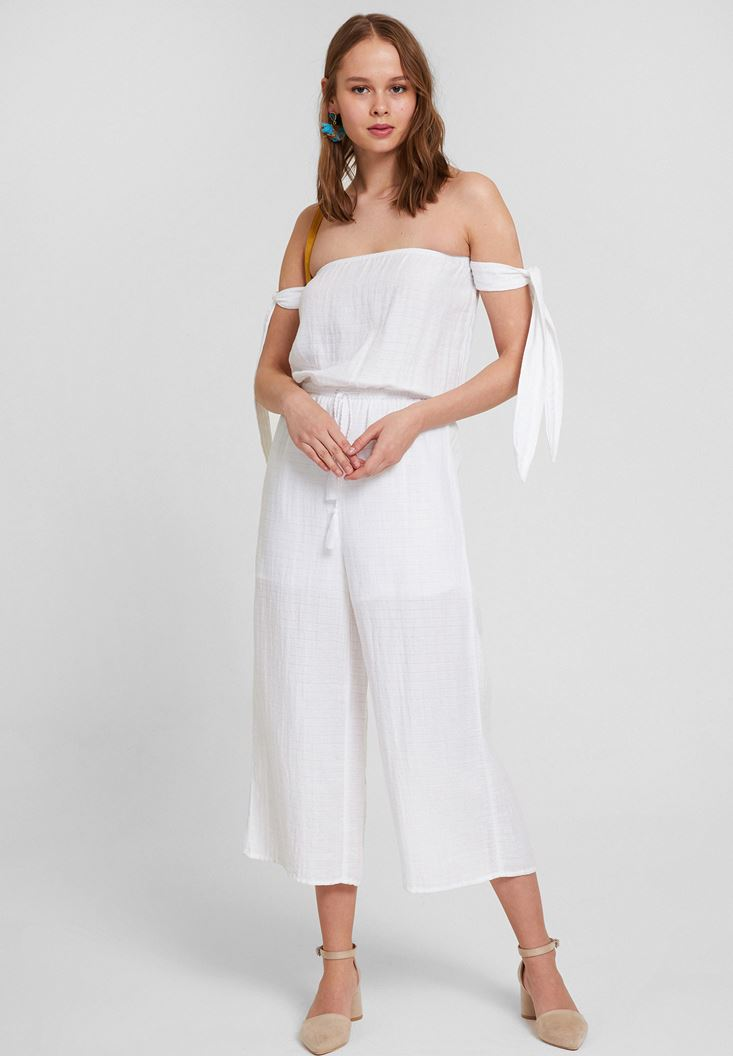 White Off Shoulder Jumpsuit with Binding Details