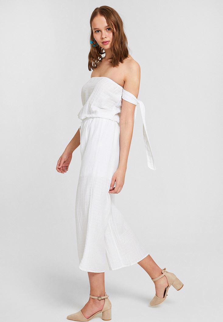 Women White Off Shoulder Jumpsuit with Binding Details