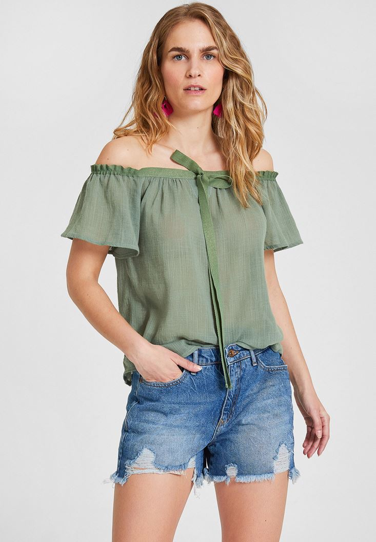Green Off Shoulder Blouse with Cord Details