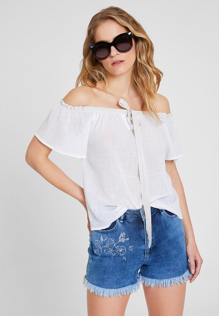White Off Shoulder Blouse with Cord Details