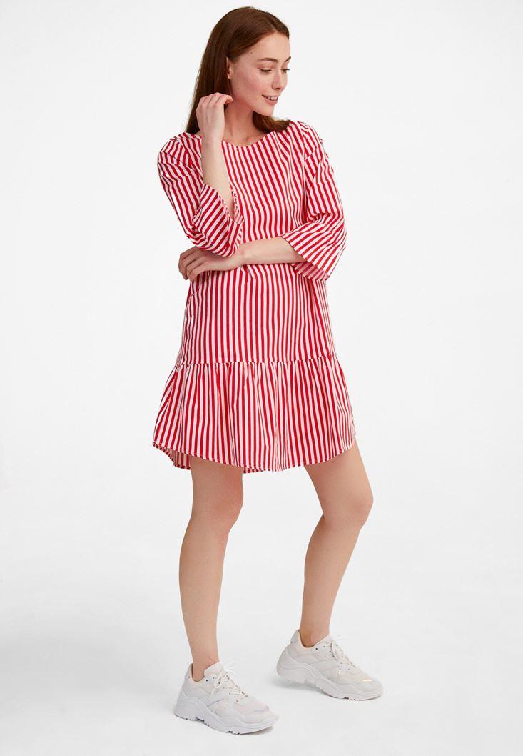 Çok Renkli Çizgili Uzun Kollu Elbise