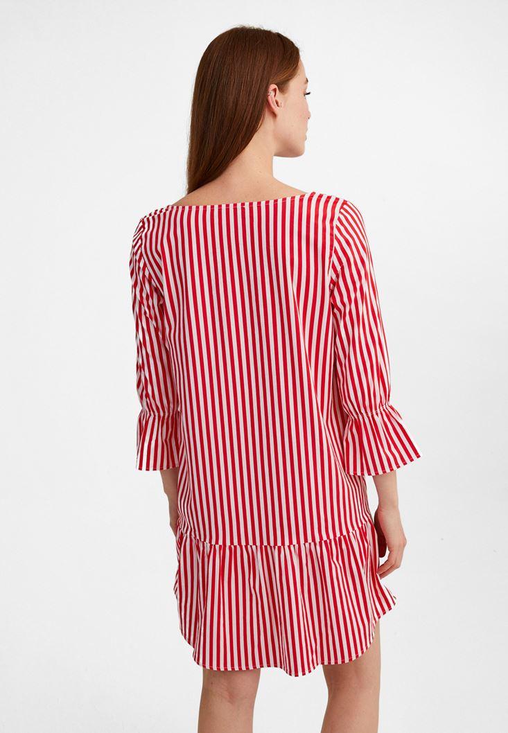 Bayan Çok Renkli Çizgili Uzun Kollu Elbise