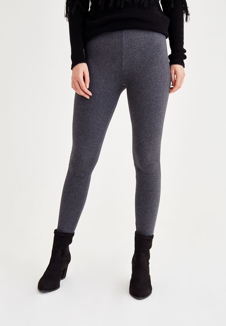 Grey Mid Rise Elastic Jeggings