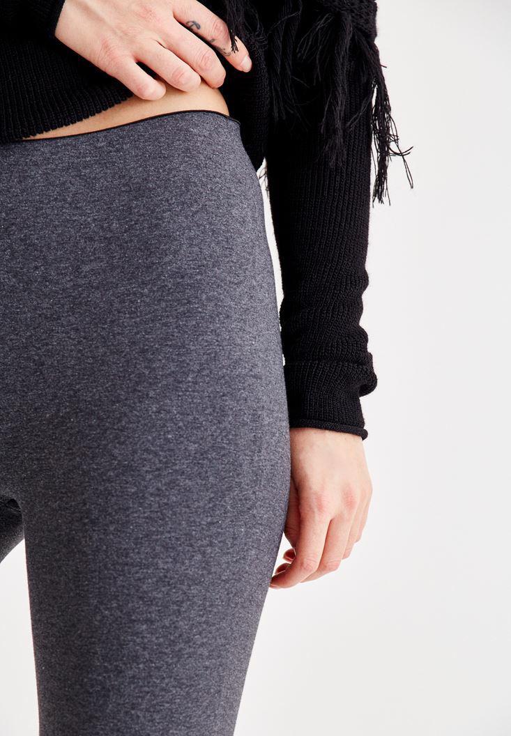 Women Grey Mid Rise Elastic Jeggings