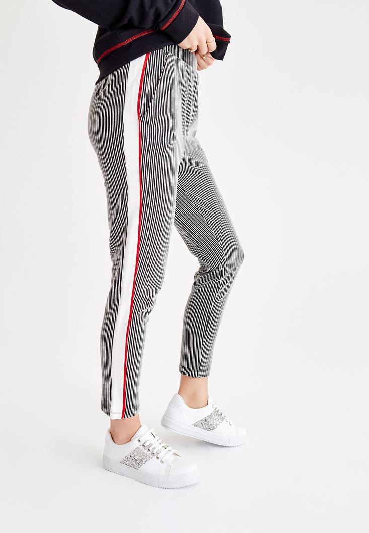 Mixed Stripe Jogger with Line Details