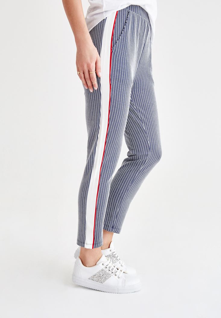 Navy Stripe Jogger with Line Details