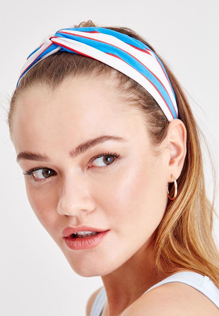 Bayan Çok Renkli Çizgi Desenli Saç Bandı