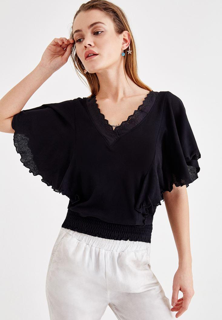 Siyah Beli Lastikli Kol Detaylı Bluz