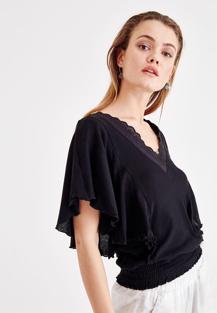 Bayan Siyah Beli Lastikli Kol Detaylı Bluz