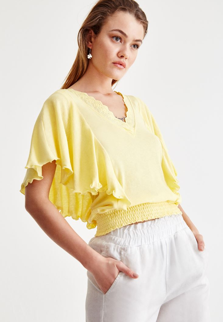 Yellow V Neck Blouse with Sleeve Details