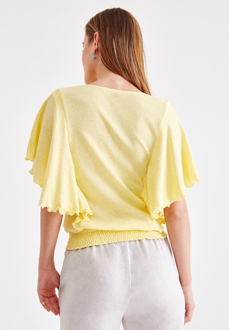 Bayan Sarı Beli Lastikli Kol Detaylı Bluz