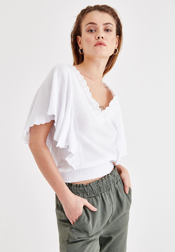 Beyaz Beli Lastikli Kol Detaylı Bluz