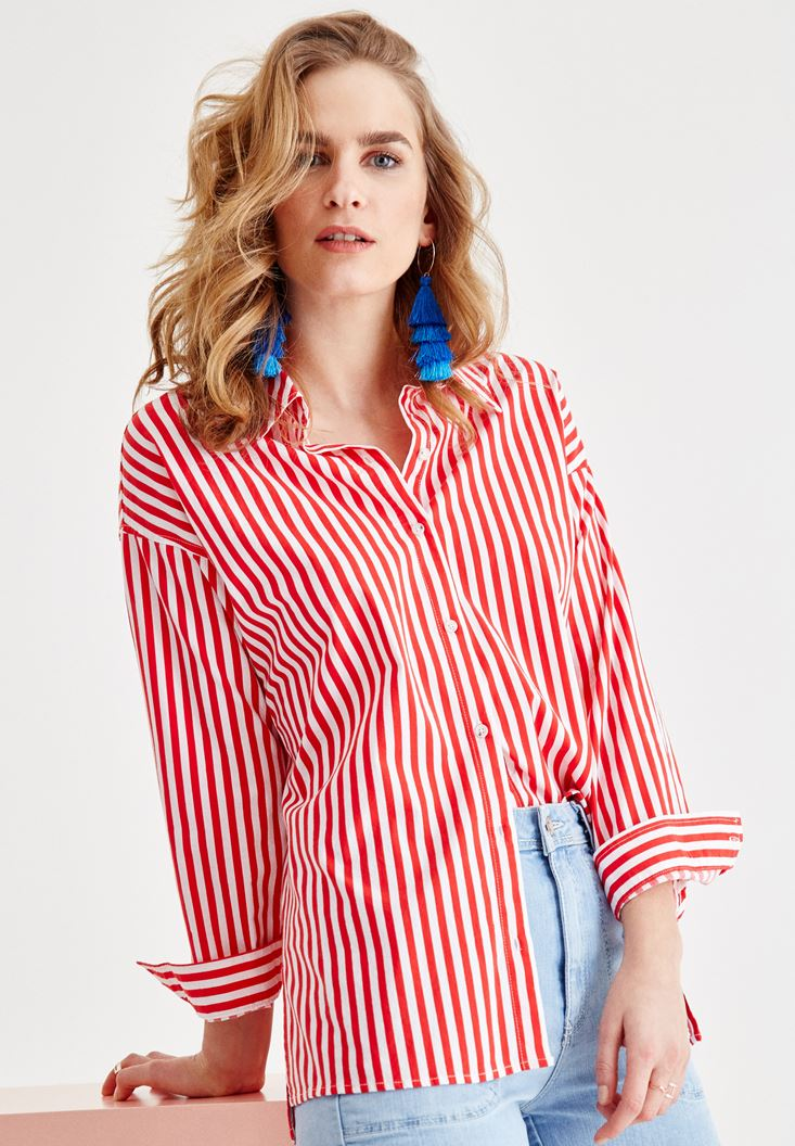 Mixed Shirt with Stripe Details