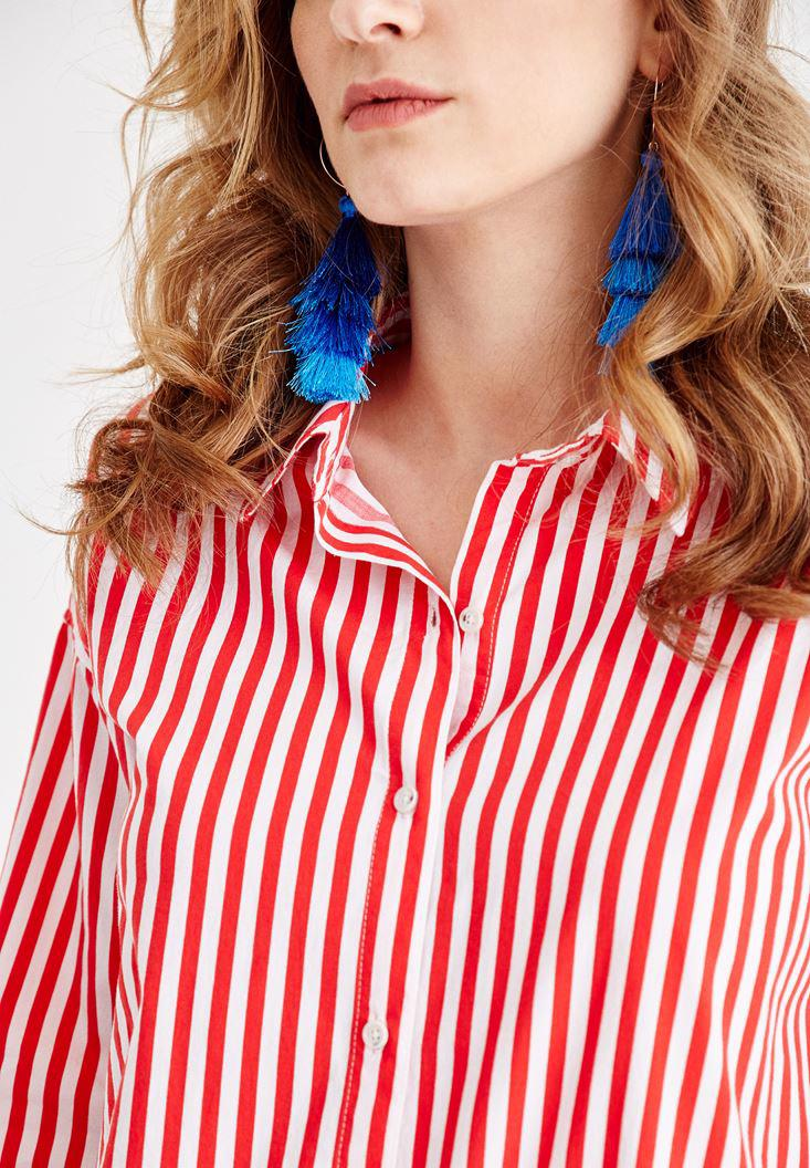Women Mixed Shirt with Stripe Details