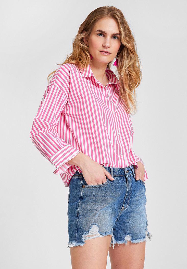 Women Mixed Shirt with Stripe Details