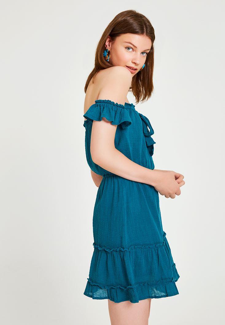 Mavi Düşük Omuzlu Kısa Elbise