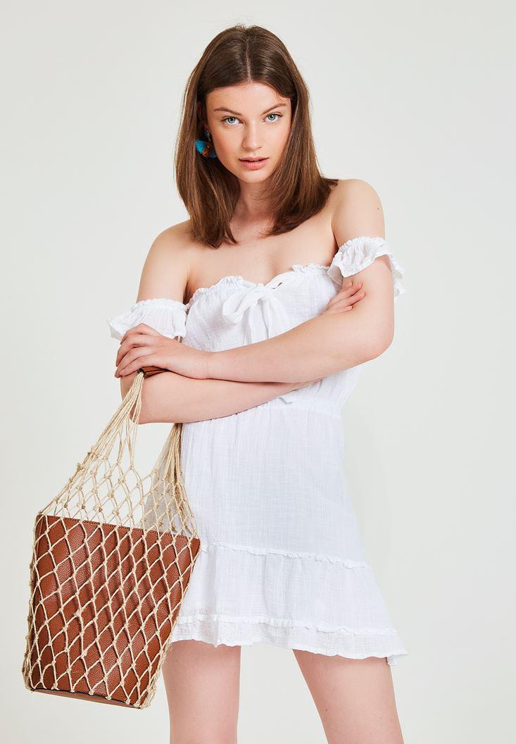 Beyaz Düşük Omuzlu Kısa Elbise